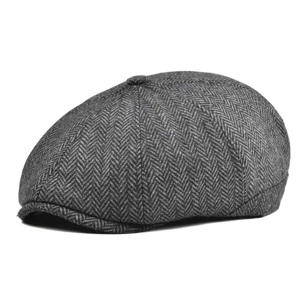b3e105d1 VOBOOM Women Men Tweed Woolen Newsboy Cap Herringbone 8 Panel Country Baker  Boy Ivy Flat Cap
