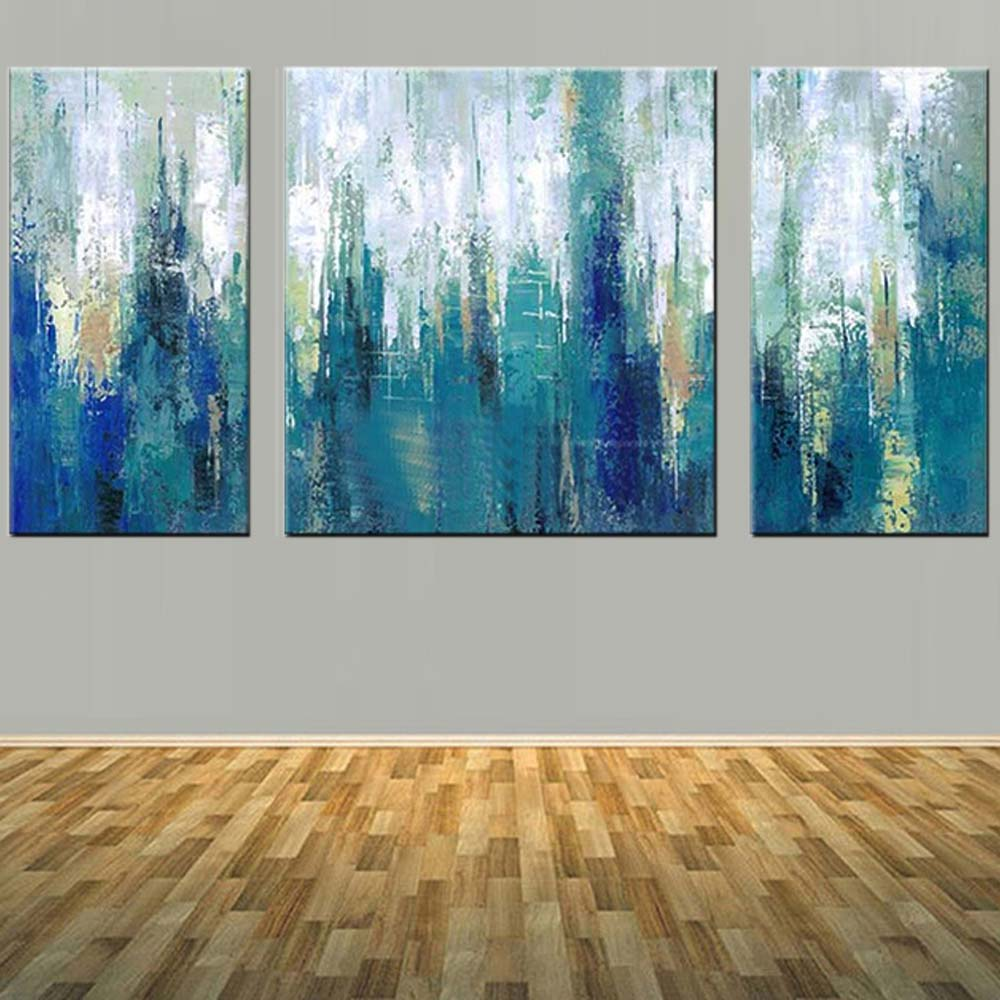 Modern Abstract Art Handmade Three Panels Blue Color Canvas Oil Painting Wall Picture Living Room Home Decor
