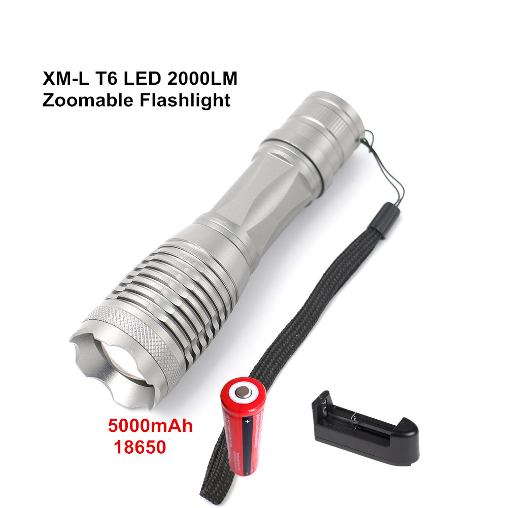 XML-T6 LED 2000Lm Zoomable Flashlight 5-mode Aluminum Alloy Flash Light Lamp Torch +5000 mAh 18650 Battery + Battery Charger cree xm l t6 bicycle light 6000lumens bike light 7modes torch zoomable led flashlight 18650 battery charger bicycle clip