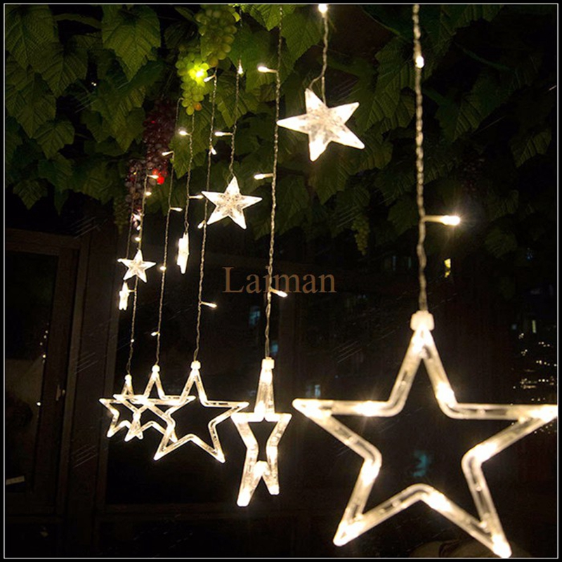 ac220v curtain star string lights christmas new year decoration christmas led lights whitewarm whitepinkpurpleredrgbblue in led string from lights