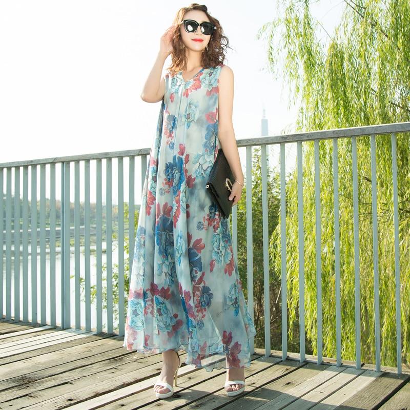 Manches Étage Maxi Parti 2019 Soie Robe Rose V Floral Festa Longue Plus Longueur La Mousseline Blue Taille Col Sky De D'été Plage HzwvtwqU