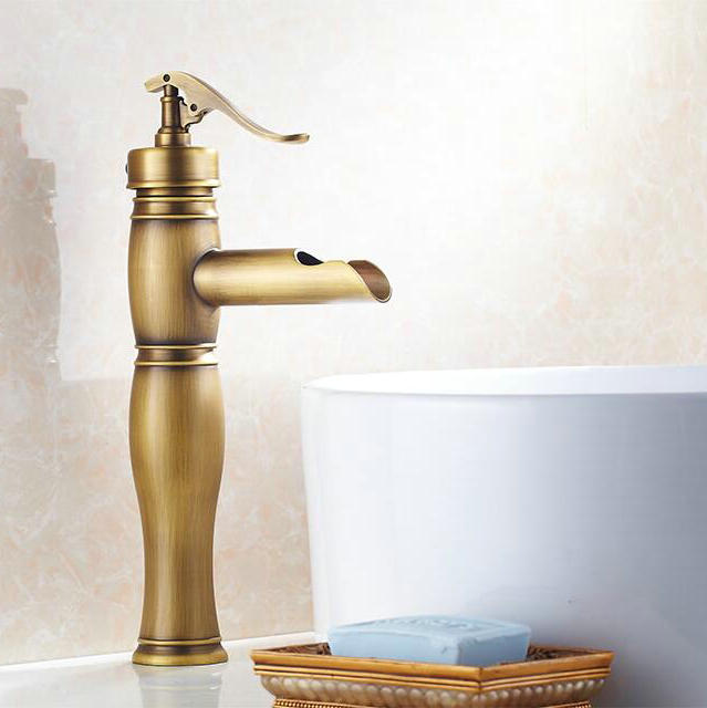 Free Shipping Bathroom Sink Faucet Bath Tap Toilet Antique Br Basin Faucets Single Hand Waterfall Mixer Hj 6822 In From Home