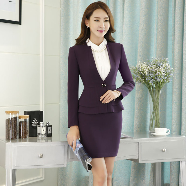 9dcb75c4329 Novelty Purple Slim Fashion Career Work Suits Plus Size With Jackets And  Skirt Female Blazers Ladies Office Outfits Beauty Salon