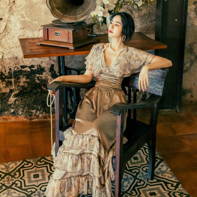 2019 新ファッション女性のドレスヴィンテージ宮殿風フランススリム大ロングドレス女性の夏  グループ上の レディース衣服 からの ドレス の中 1