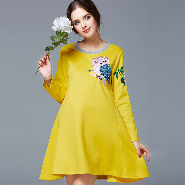 Maternity One-Piece Dress Maternity Clothing Fashion Embroidery Loose Autumn Maternity Top Long-Sleeve Maternity Casual Dress