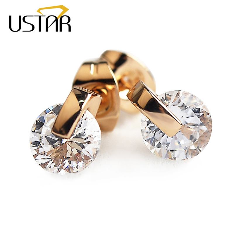 USTAR 6.5mm 1ct AAA Zircon stud earrings for women Rose Gold color wedding fashion Jewelry Crystal Earrings female Brinco gift