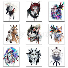 5D DIY Diamond painting Cross stitch Cartoon Cat Full Square embroidery Animal Wolf Round mosaic colorful #