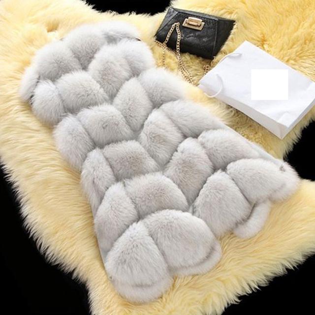 Novas Mulheres Da Moda Casaco de Inverno Quente da Pele Do Falso Colete Faux Fur brasão High-Grade da Pele Do Falso Casaco de Pele De Raposa Longo Colete Plus Size S-3XL
