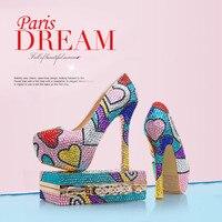 Новый Многоцветный Роскошная обувь с украшением в виде кристаллов женские свадебные туфли с Сумочки в комплекте из натуральной кожи для не