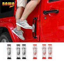 цены BAWA Exterior Door Panels Foot Pegs for Jeep Wrangler JK 2007-2017 Anti Slip Foot Rest Pedal Steel Car Door Steps Climbing Kit