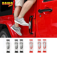 BAWA Exterior Door Panels Foot Pegs for Jeep Wrangler JK 2007 2017 Anti Slip Foot Rest Pedal Steel Car Door Steps Climbing Kit