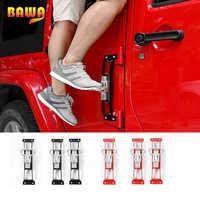 BAWA Exterior Door Panels Foot Pegs for Jeep Wrangler JK 2007-2017 Anti Slip Foot Rest Pedal Steel Car Door Steps Climbing Kit