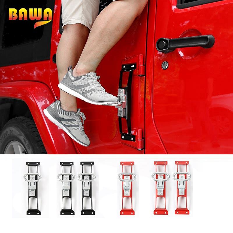 BAWA panneaux de porte extérieure repose-pieds pour Jeep Wrangler JK 2007-2017 anti-dérapant repose-pieds pédale en acier voiture porte étapes Kit d'escalade