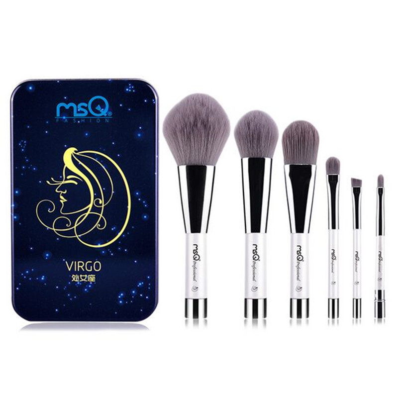 MSQ 12 constellation series 6pcs portable short handle makeup brush set Constellation magnet box A full set of makeup brushes msq 6pcs makeup brush set professional