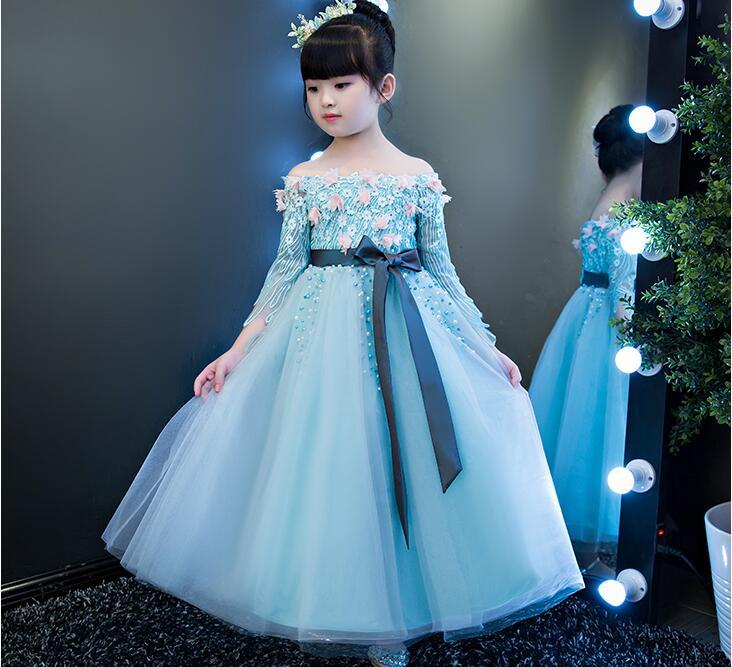 2018 spring elegant teenage girl party dress for kids girls dresses formal prom frocks children wedding tutu princess prom dress uoipae girl kids dress spring 2018