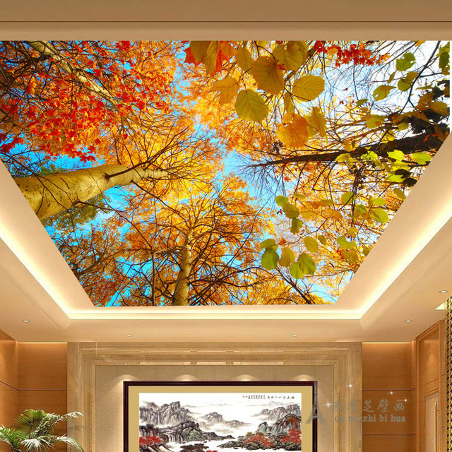 Beibehang Gold Leaf Natural Scenery Wallpaper Business Rooms The Hotel Lobby Ceiling Living Room Bedroom Murals