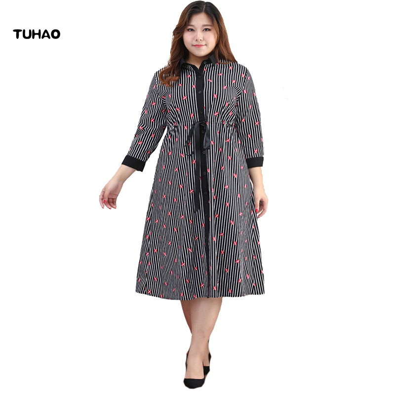 TUHAO 2018 Office Lady summer dresses Empire Plus Size 10XL 8XL 6XL Stripe Print Bow Sashes