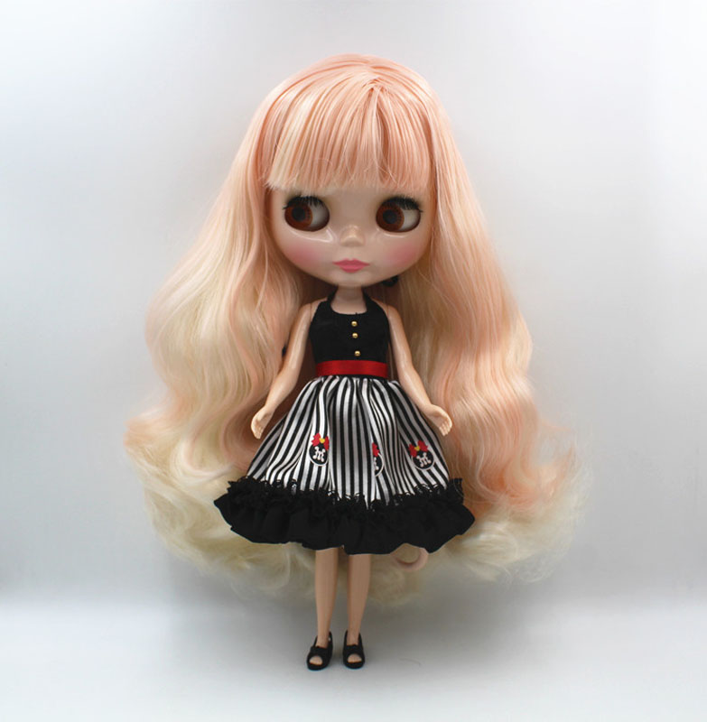 Free Shipping big discount RBL-463 DIY Nude Blyth doll birthday gift for girl 4colour big eye doll with beautiful Hair cute toy free shipping nude blyth doll black4 hair big eye doll for girl s gift pjb004