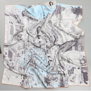 "Image 4 - 35 ""אופנה הדפסת גדול כיכר משי צעיף צעיף חיג אב עבור נשים 100% אריג משי צעיף ראש צעיפי יד התגלגל קצוות"