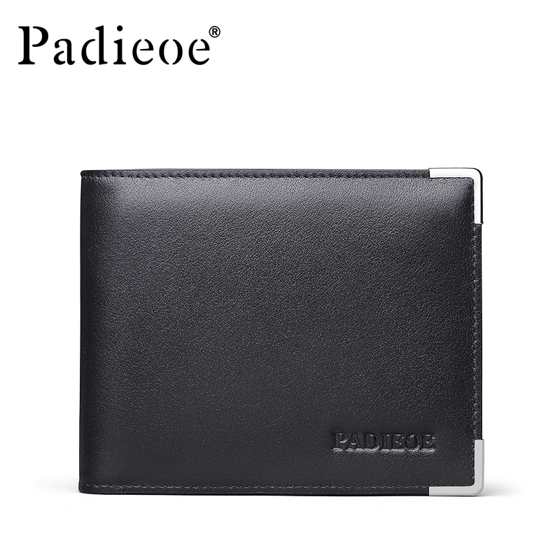Padieoe New Design Metal Wallet for Male Famous Brand Fashion Men's Business Purse High Quality Men Genuine Leather Card Holder padieoe new design metal wallet for male famous brand fashion men s business purse high quality men genuine leather card holder