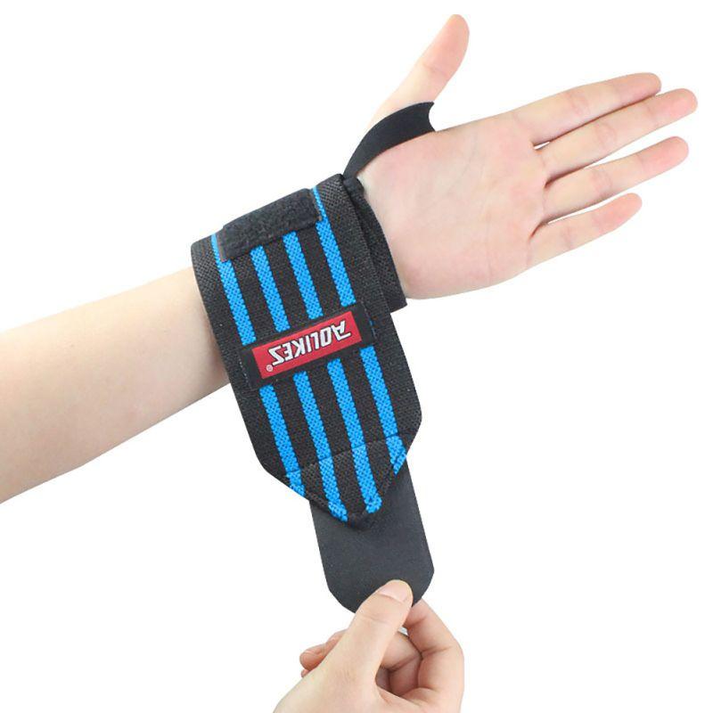 Levantamiento de pesas culturismo muñeca 1 par AOLIKES correas respirables de la mano pulsera de levantamiento de peso banda de apoyo
