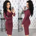 d3ed3f41aa2 voceelinda 2019 New Winter Women V-neck Long Sleeve Sweater Dress Sexy  Rivet Bodycon Knitted