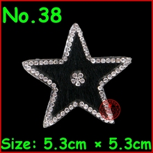 3 pcs/Lot Hot Black Star design hot fix rhinestone Heat transfer iron on motifs Applique Motifs Crystal Diy Accessories