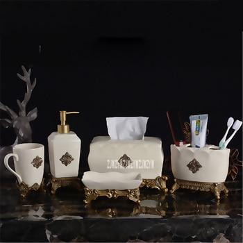 New Arrival European Ceramic Bathroom Five-piece Bathroom Supplies Kit Creative Brush Cups Mouthwash Cup Bathroom Wash Sets Hot
