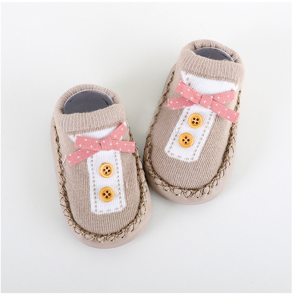 Socks Toddler Shoes Rubber Soles Anti-Slip Newborn-Baby Baby-Girl Winter Cartoon