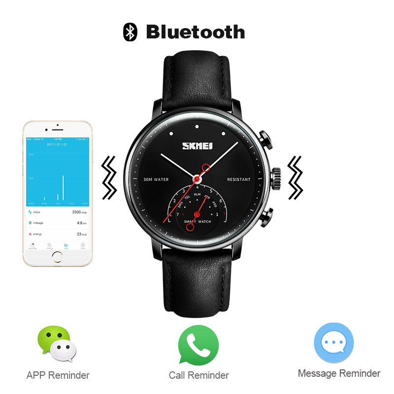 SKMEI модные и повседневные умные мужские и женские часы Blueteeth фотография пара Quatz наручные часы H8 - 6