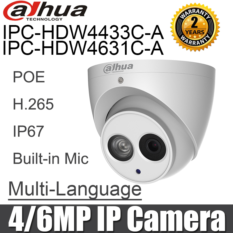 Dahua IPC-HDW4631C-A IPC-HDW4433C-A 4MP 6MP IP Camera POE English Built-in Mic Night Vision Cctv Security Camera Network Camera