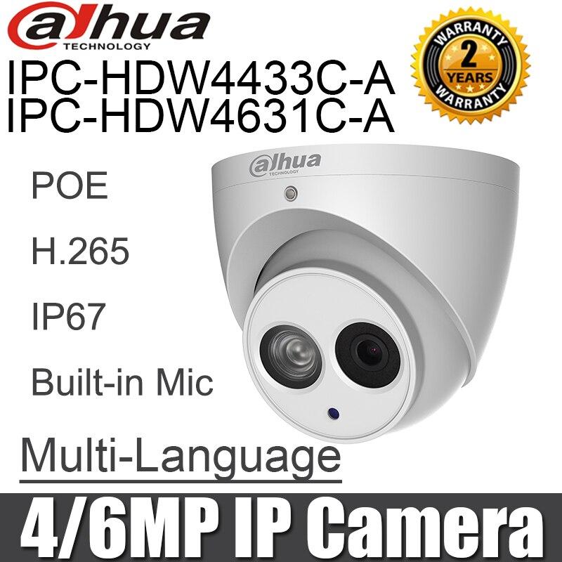 Dahua IPC HDW4631C A IPC HDW4433C A 4MP 6MP IP Camera POE Engels ingebouwde Microfoon nachtzicht cctv security camera netwerk camera-in Beveiligingscamera´s van Veiligheid en bescherming op AliExpress - 11.11_Dubbel 11Vrijgezellendag 1