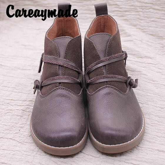 Careaymade 2018 new autumn and winter new round lace middle tube Martin boots retro genuine leather fashion women 39 s shoes in Ankle Boots from Shoes