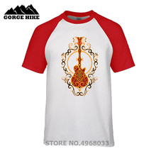 Hot Sale Tshirt Intricate Red and Yellow Electric Guitar Design Music Men T-Shirt top quality brand rock male t shirts bass clef