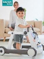 Baby walker anti roll multi function belt music baby child walker