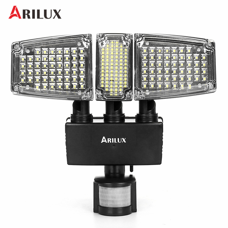 ARILUX солнечная панель 178 светодио дный Светодиодный прожектор PIR датчик движения три головы Солнечная лампа открытый сад водостойкий светил...