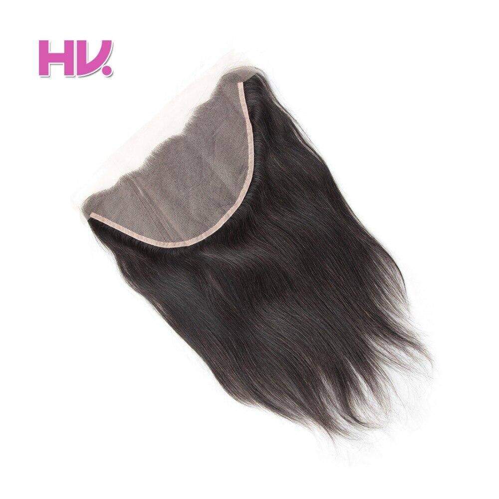 Hair Villa Peruvian Hair Straight Ear To Ear Lace Frontal Closure 13*6 Human Hair Closure Free Part Non Remy Natural Color #1B