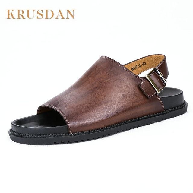 b67da56d5713f KRUSDAN summer 2018 Mens Beach Sandals Genuine Leather Flat Sandals Men  Handmade Shoes Beach Flip Flops Sandals Seaside Slippers
