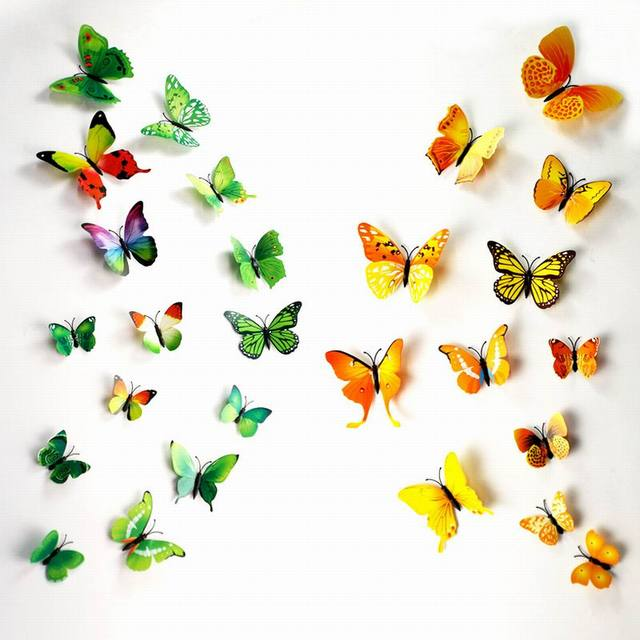 3D Butterfly Wall Decals Multicolor PVC Wall Stickers For TV Wall Kids  Bedroom Wall Home House