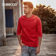 Simwood 2020 Lente Nieuwe Lange Mouw T shirt Mannen 100% Katoen Effen T shirt Plus Size Hoge Kwaliteit Merk Kleding 190130