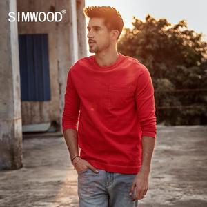 Image 1 - Simwood 2020 Lente Nieuwe Lange Mouw T shirt Mannen 100% Katoen Effen T shirt Plus Size Hoge Kwaliteit Merk Kleding 190130