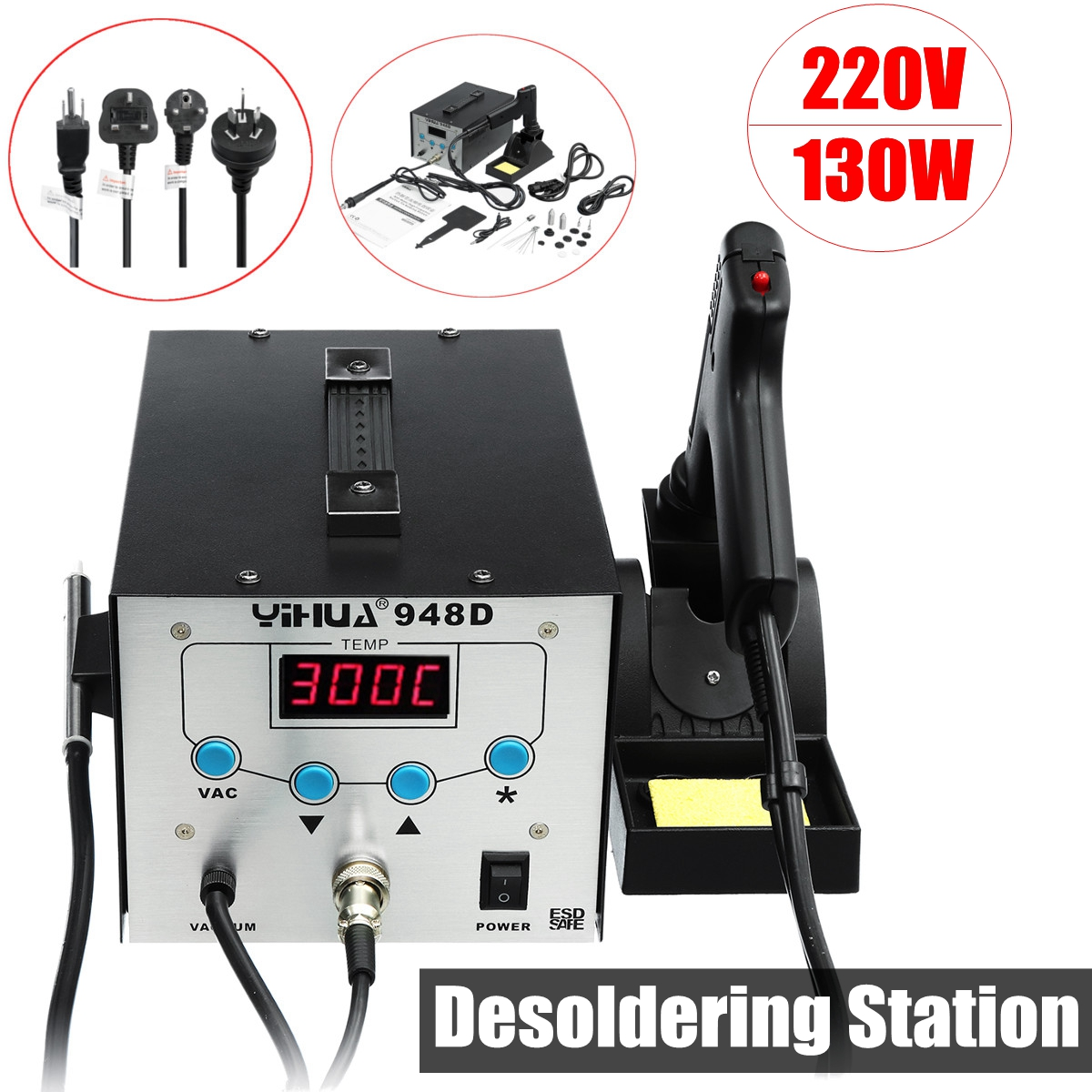 YIHUA 8586 2 in 1 220V 700W ESD Hot Air Rework station soldering station LED Digital Solder Iron BGA Rework Solder Station esd safe 75w soldering handpiece t245a solder iron handle for di3000 intelligent soldering station