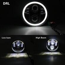Juego de faros LED para Moto de 5,75 pulgadas, set de luces de Halo completo para varilla nocturna de hierro 883 Dyna Sportster 1200 Indian, Scout Triumph
