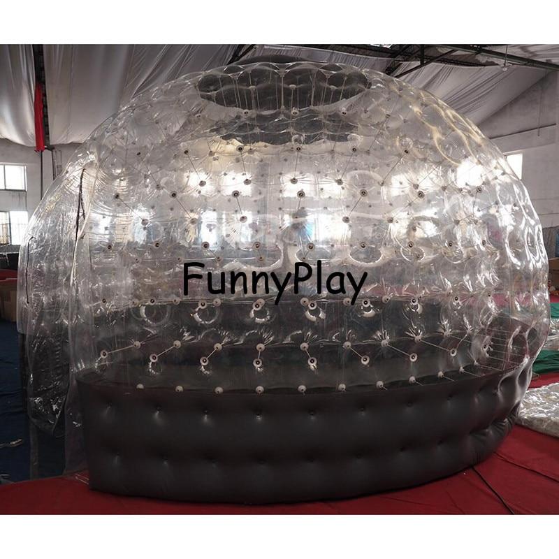 Tente gonflable de bulle de Sauna demi claire maison noire de bulle pour la location d'hôtel, publicité d'arrière cour de Camping de famille