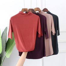 High Elasticity Women T-shirt Base T-shirts Bottoming Basic Tee Tops 2019 New Cotton Turtle Neck Half Sleeve Slim Femme T Shirts