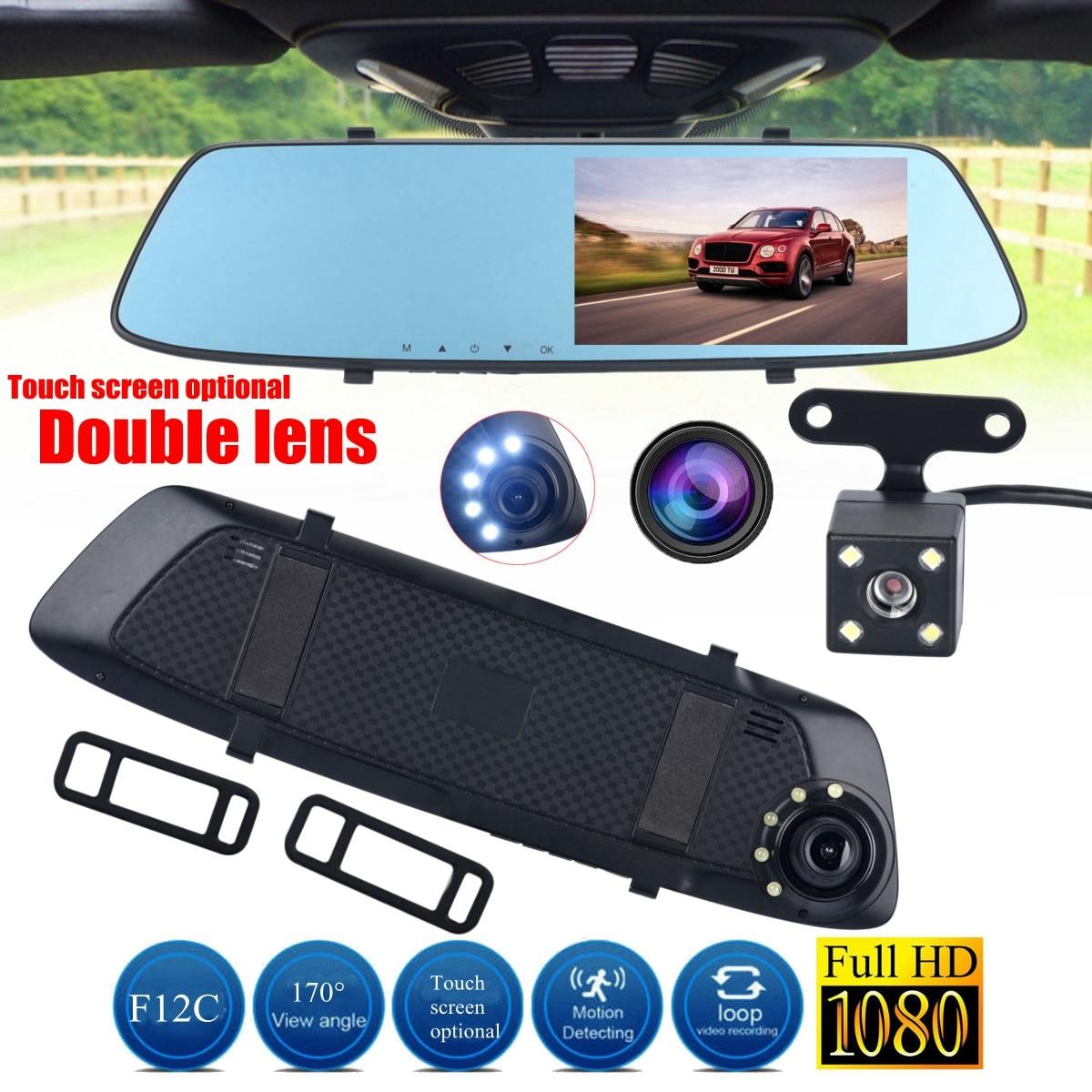 HD 1080P Dual Lens Rearview Mirror Camera Recorder Car DVR Dash Cam 4.3 Inch Vehicle Night Vision