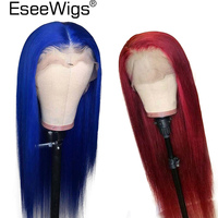 Eseewigs 13x6 Straight Lace Front Wig Brazilian Human Hair Lace Wigs Pre Plucked Hairline For Black Women Blue and Red Remy Hair