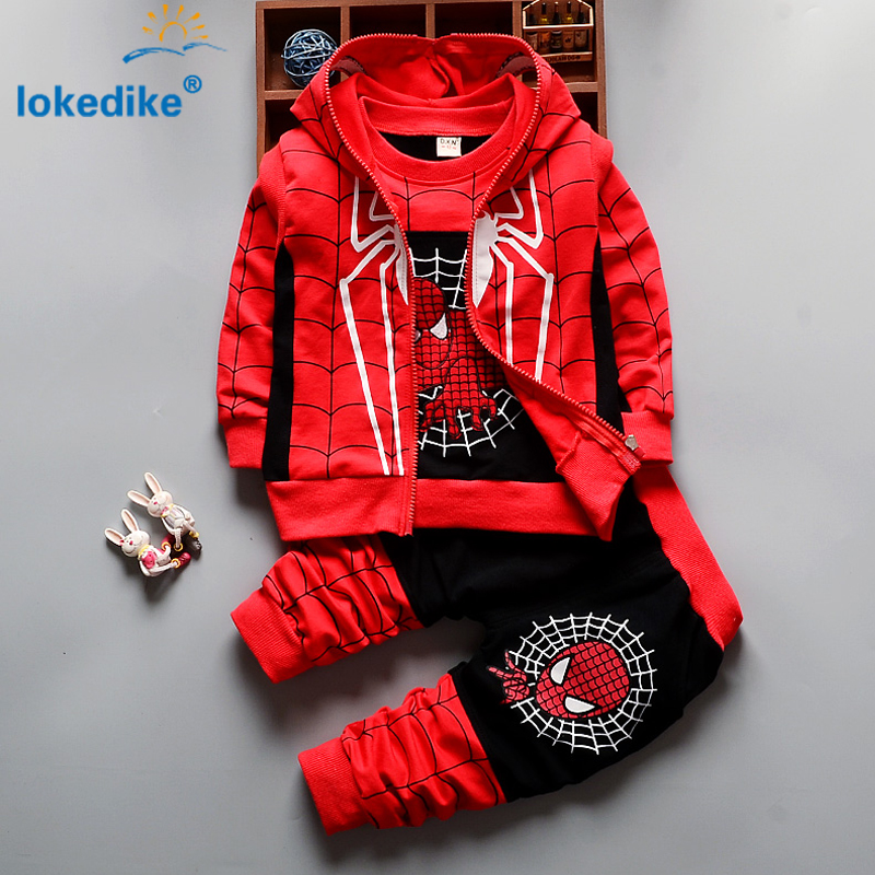3Pcs Children Clothing Sets 2016 New Autumn Winter Toddler Kids Boys Clothes Hooded T-shirt Jacket Coat Pants <font><b>Spiderman</b></font> T2925