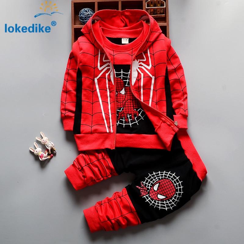 3Pcs Children Clothing <font><b>Sets</b></font> 2016 New Autumn Winter Toddler Kids <font><b>Boys</b></font> Clothes Hooded T-shirt Jacket Coat Pants <font><b>Spiderman</b></font> T2925