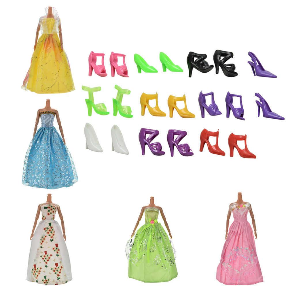 1 set שמלת ערב עבור s + 10 Pairs לנעלי חתונה שמלות נסיכת שמלת אביזרי 5 יחידות